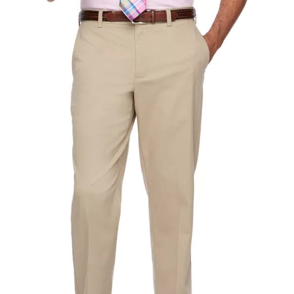 NWT NEW mens light brown CROFT BARROW pleated stretch comfort waist dress pants